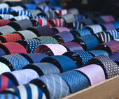 Colorful italian ties in soft focus — Stock Photo