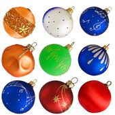 Set of colorful Christmas balls isolated on white background — Stock Photo