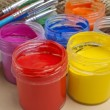 Paint buckets and brush — Stock Photo #36946809