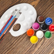 Paint buckets and brush — Stock Photo #36946813