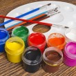 Paint buckets and brush — Stock Photo #36946817
