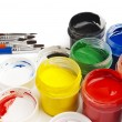 Paint buckets in soft focus — Stock Photo #36946827