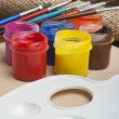 Paint buckets and brush — Stock Photo #36946829