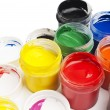Paint buckets in soft focus — Stock Photo #36946833