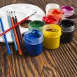 Paint buckets and brush — Stock Photo #36946835