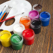 Paint buckets and brush — Stock Photo #36946849
