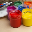 Paint buckets and brush — Stock Photo #36946855
