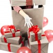Gift boxes large group with red ribbon — Stock Photo