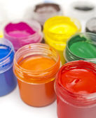 Paint buckets in soft focus — Stock Photo
