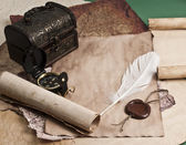 Ancient chest with a paper — Stock Photo