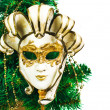 Stock Photo: Christmas decoration with tree and carnival mask on white background
