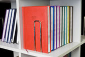Close-up of a few colored books (notebooks, diaries). — Stock Photo