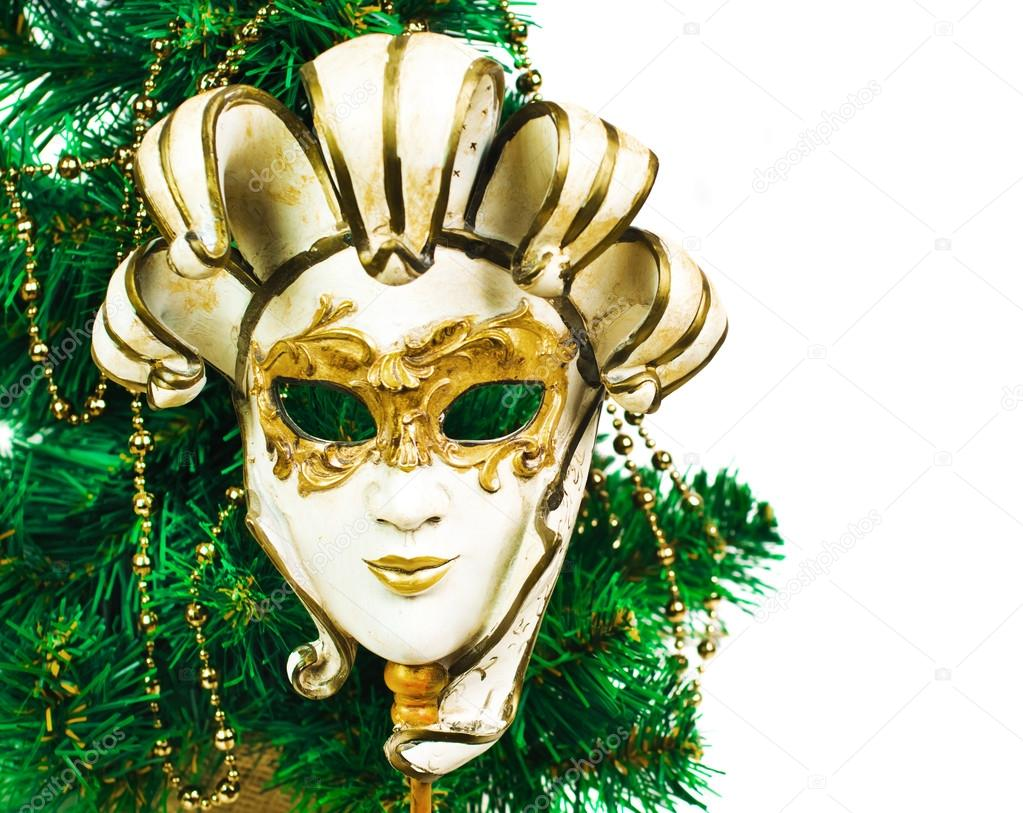 Christmas decoration with tree and carnival mask on a for Decoration carnaval