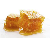 Honeycomb on white plate — Stock Photo