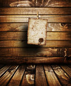 Old letter on brown wood texture with natural patterns — Stock Photo