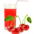 Juice with several cherries isolated on white background — Stock Photo