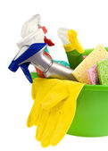 Brightly colored sponges with brush — Stock Photo