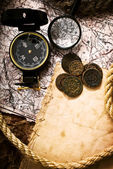 Compass, coins and rope — Stok fotoğraf