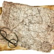 Old glasses on the vintage map — Stock Photo #44225905