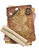Old glasses on the vintage map — ストック写真