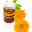 Medicine bottle and calendula flower — Stock Photo #48524305