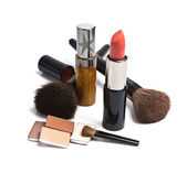 Lipsticks, eyeshadows and brushes — Stock Photo