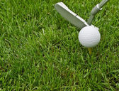 Golf ball and putter — Stock Photo