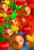 Christmas balls and ribbons — Stock Photo