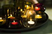 グラスでロマンチックなキャンドル — ストック写真