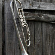 Stock Photo: Old trumpet on fence
