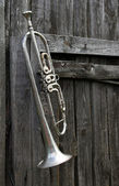 Old trumpet on the fence — Stock Photo