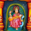 Saraswati's image on the altar at the Hindu temple, Goa — Stock Photo