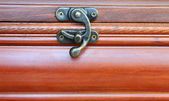 Original lock on an old wooden casket — Photo
