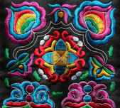 Multicolor ethnic hand embroidery pattern — Stock Photo