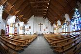 The Catholic Church interior, fisheye view. — Stok fotoğraf