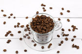 Coffee beans in the cup — Stock Photo