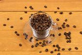 Grãos de café na Taça — Fotografia Stock
