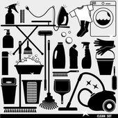 Conjunto de icono limpio — Vector de stock