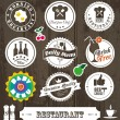 Stock Vector: Restaurant label set