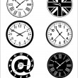 Stock Vector: Time and clock background set.
