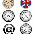 Stock Vector: Time and clock set.