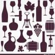 Wine set background. — Stock Vector