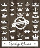 Crowns vintage set. — Stock Vector