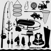 Fishing icon set. — Stock Vector