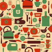Seamless kitchen pattern — Stock Vector