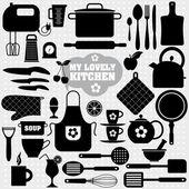 Kitchen icon background. — Stock Vector