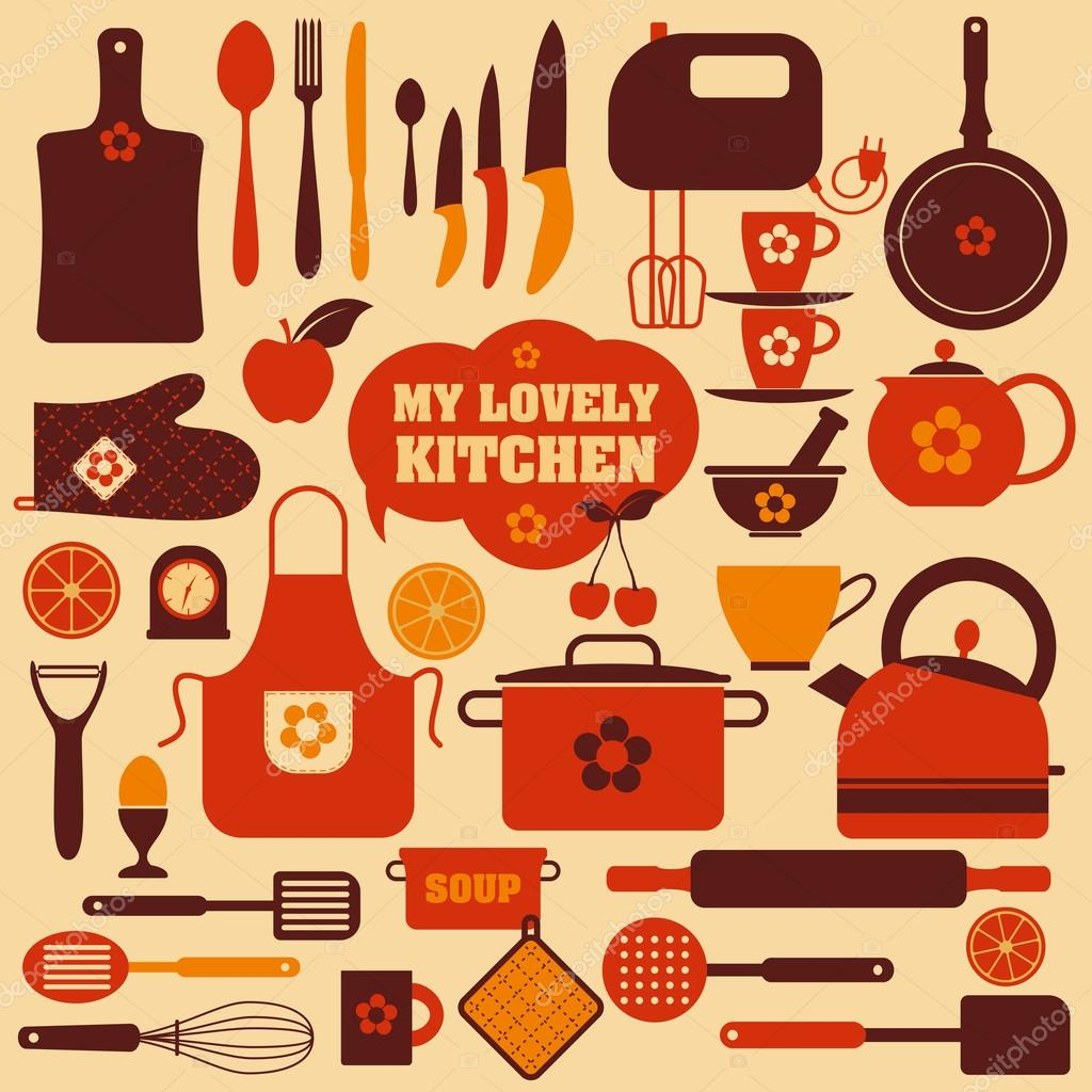 kitchen set icon stock vector olgamilagros 37123659