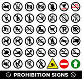 Prohibition signs set. — Stock Vector