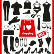 Vector de stock : Shopping set.