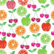 Fruit seamless background. — Stock Vector